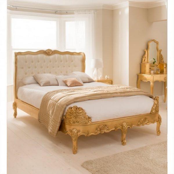 Tidur Ukir Mewah Emas French