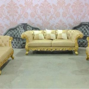 Set Kursi Tamu Sofa Chester Ukir Jok Leather