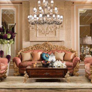 Set Kursi Tamu Sofa Ukir Waldorf Gold