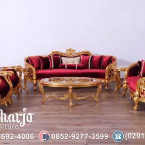 Set Kursi Tamu Sofa Olimpia Bellagio Emas Merah