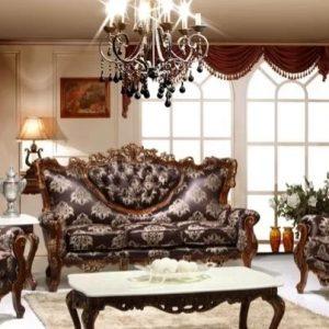 Set Kursi Tamu Sofa Ukir Warna Coklat Meja Marmer Putih