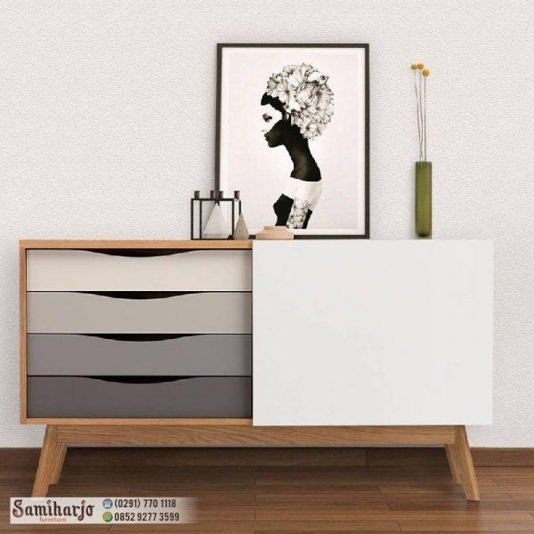 Meja Bufet Sideboard Gradasi Warna Grey