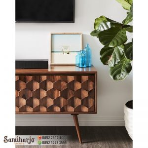 Meja TV Kontemporer motif Honeycomb Kayu Solid (5)