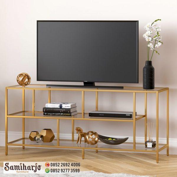 Meja TV Rangka Stainless Steel warna Doff Emas