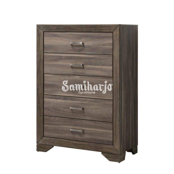 Meja Dresser Bernards Asheville Queen Panel Kamar Tidur Set 6 Pcs di Kayu Apung, Veneer Kayu, Kayu Keras Solid