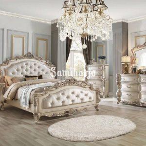 Set Kamar Tidur King Houston Warna Krem Putih Antik Kain