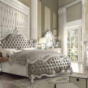 Set Tempat Tidur ACME Versailles-21150Q Kamar Tidur Queen Panel Set 5 Buah dalam Warna Abu-abu, Putih, Tulang, Poliuretan