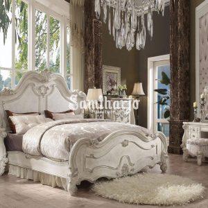 Set Tempat Tidur ACME Versailles-21760Q Kamar Tidur Queen Panel Set 3 Buah Putih, Tulang, Kayu, Veneer