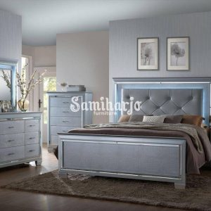Set Tempat Tidur Crown Mark B7100 Lillian King Platform Kamar Tidur Set 5 Buah Perak, Kulit Imitasi