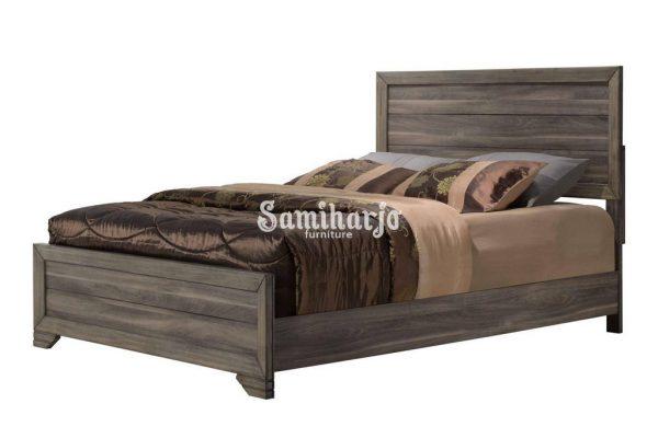 Tempat Tidur Bernards Asheville Queen Panel Kamar Tidur Set 6 Pcs di Kayu Apung, Veneer Kayu, Kayu Keras Solid