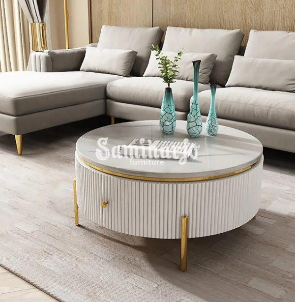 Coffee Table Putih Bulat Stip Modern Gold Stainless Steel (1)