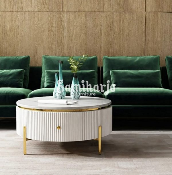 Coffee Table Putih Bulat Stip Modern Gold Stainless Steel (2)