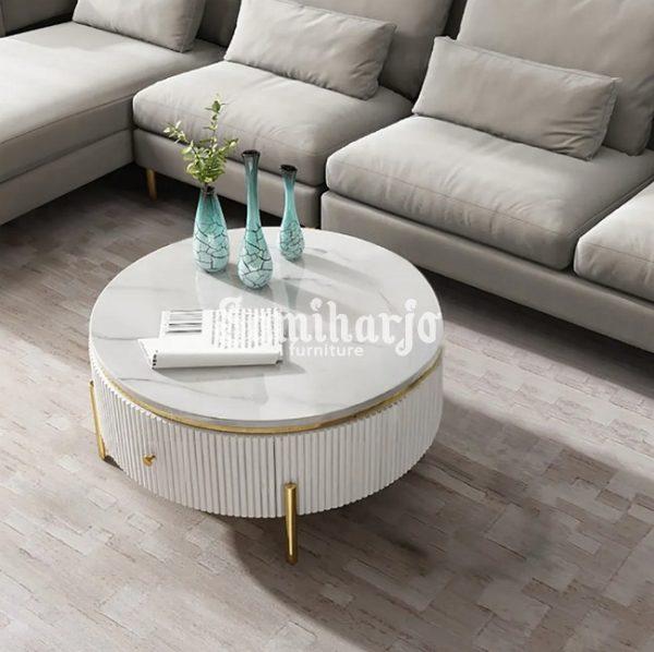 Coffee Table Putih Bulat Stip Modern Gold Stainless Steel (3)