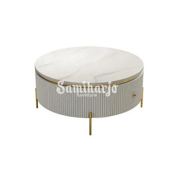 Coffee Table Putih Bulat Stip Modern Gold Stainless Steel (4)