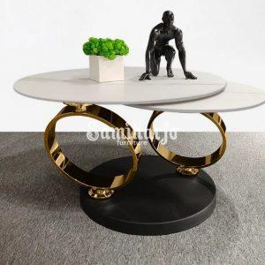 Coffee Table Unik Model Terbaru Top Meja Marmer Kaki Stenlis (1)