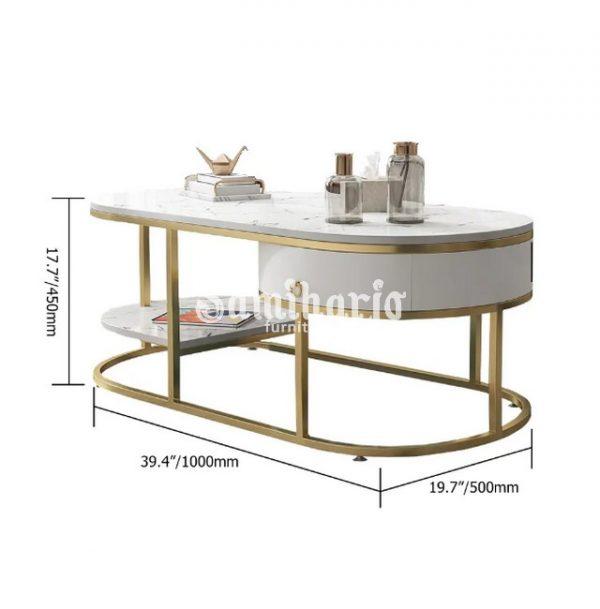 Desain Meja Kopi Marmer Mix Gold Stainless Modern Laci & Rak (1)
