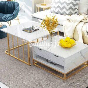Meja Kopi Bersarang Modern dengan Laci & Rak Sepotong-2 Putih (1)