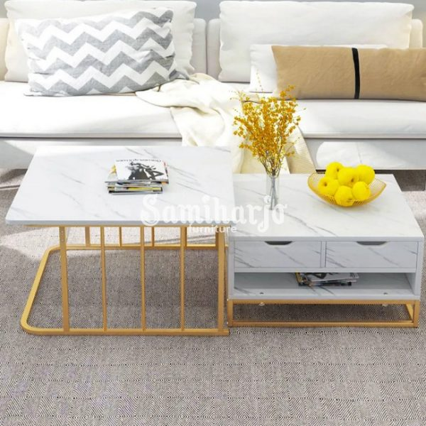 Meja Kopi Bersarang Modern dengan Laci & Rak Sepotong-2 Putih (2)