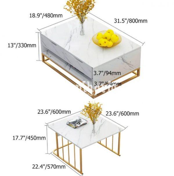 Meja Kopi Bersarang Modern dengan Laci & Rak Sepotong-2 Putih (3)