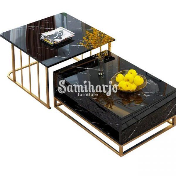 Meja Kopi Bersarang Modern dengan Laci & Rak Sepotong-2 Putih (5)
