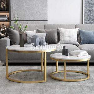 Meja Kopi Bulat 2 Set Nordic Kaki Logam Emas & Marmer Putih (1)
