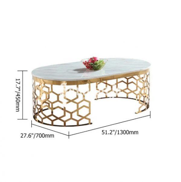 Meja Kopi Marmer Oval Kaki Stainless Sarang Lebah Canggih (5)