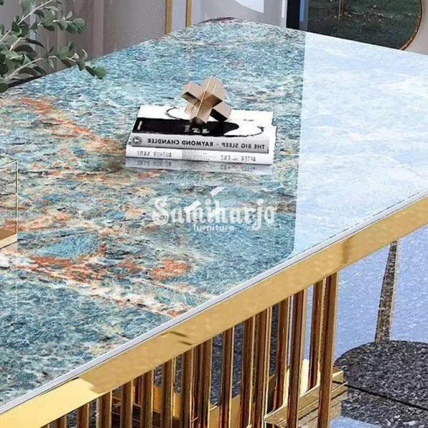 Meja Makan Kimberly Stainless Emas Kokoh Glamor Mewah Motif Granit (4)