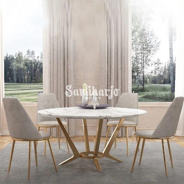 Meja Makan Marmer Bulat Welma Putih Modern Rangka Stainless Emas (1)