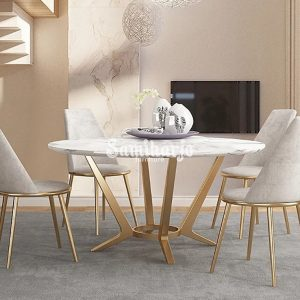 Meja Makan Marmer Bulat Welma Putih Modern Rangka Stainless Emas (3)
