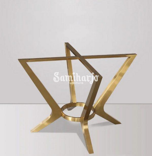 Meja Makan Marmer Bulat Welma Putih Modern Rangka Stainless Emas (5)