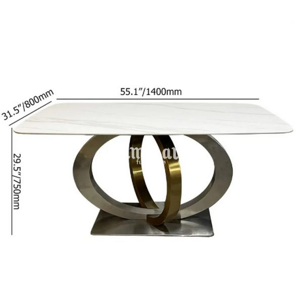 Meja Makan Marmer Stainless Holistik Informa Golden Geometris Kokoh (1)