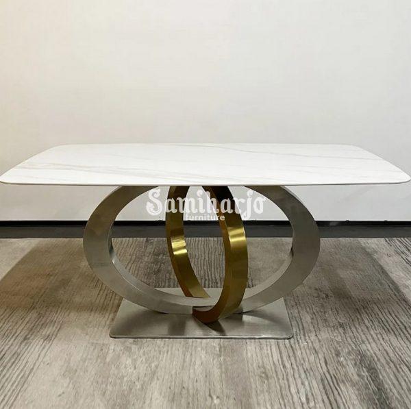 Meja Makan Marmer Stainless Holistik Informa Golden Geometris Kokoh (2)