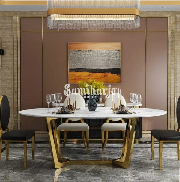 Meja Makan Oval Olive Modern Marmer Serat Kaki Stenlis Gold Kombinasi (4)