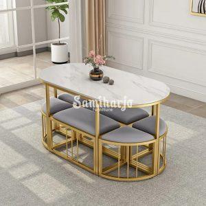 Meja Makan Susan Oval Marmer Putih Rangka Siluet Logam (2)